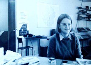 Mireille fångad under en lektion på Journalisthögskolan.