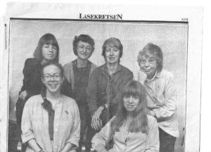 Idag-redaktionen är samlad. Från vänster syns Ami, Ann Lagerström, Inrid Olausson, Marie Hagfors, Karin Thunberg och den omtyckte chefen Marianne Fredriksson.