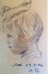 Ami porträtterad av pappan 1946.